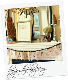 Thanksgiving banner from A Thoughtful Place, Brown Bags, Marker & Ribbon!