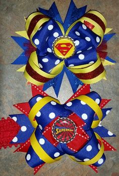 Superman bows  by Julia's Bowtique on Facebook