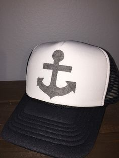 Anchors away trucker hat. SnapBack one size fits by ArieBdesigns
