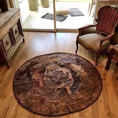 Circular leather rug round Handmade Carpet Designer Decorative Floor Mat patchwork sizes 3 4 5 6 ft