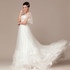 Elegant Short Sleeve with Natural waist wedding dr