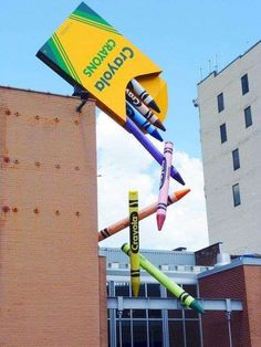 the crayola building's crayon sculpture creates such a grand tension at this scale