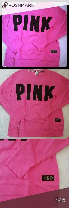 VS PINK SIDE SLIT CREW HOT PINK NIP, FITS AN XL, HI LOW STYLE PINK Victoria's Secret Tops Sweatshirts & Hoodies