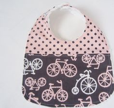 Baby Bib, Bicycles in Pink and Grey on Etsy, $9.50