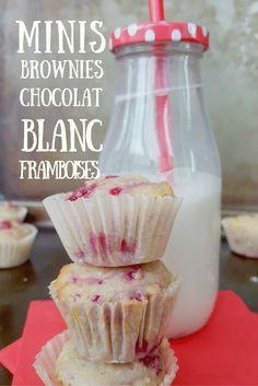 Minis bouchées de brownies au chocolat blanc et framboises. Une recette santé et décadente