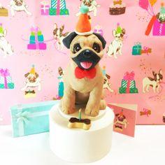 Pug Cake Topper Custom Birthday Cake Topper with by DogCakeTopper
