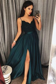 Sexy V-Neck Spaghetti Straps Split Lace Long Prom Dresses #formal