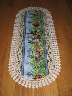 CUSTOM order KATHY - Aunt Roo's So Many Bunnies fabric (reverse Pinecones & Branches) table runner w/ crocheted edging...