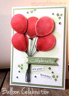 Birthday card using Stampin Up Balloon Celebration 2016 occasions Catalogue