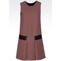 EMPORIO ARMANI Dress In Jacquard ($995) ❤ liked on Polyvore featuring dresses, multicoloured, mini dress, red dress, red checkered dress, retro dresses and zipper back dress