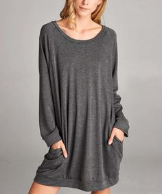 Look what I found on #zulily! Charcoal French Terry Pocket Sweater Dress #zulilyfinds