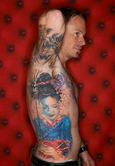 What a piece.! #geisha #tattoo #ink
