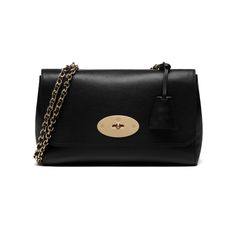 Mulberry - Medium Lily in Black Glossy Goat With Soft Gold