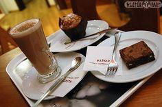 costa coffee Costa Coffee, Chocolate Fondue, Budapest, The Neighbourhood, Tableware, Desserts, Food, Tailgate Desserts, Dinnerware