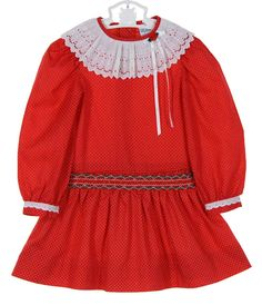 721b4fb956ca Polly Flinders Red Dotted Dress with Smocked Drop Waist,Polly Flinders red smocked  dress with dropped waist,Polly Flinders vintage style red smocked dress ...