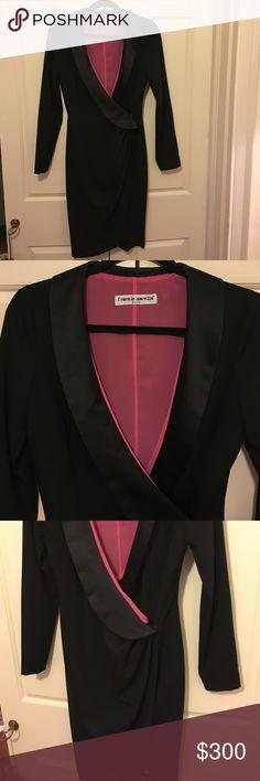 Italian designer Tuxedo dress. Satin collar. Frankie Morello. Italian designer. Black Tuxedo dress. Satin collar. Button in the middle. Size 42 Italian. American 6/8 Frankie Morello Dresses Midi