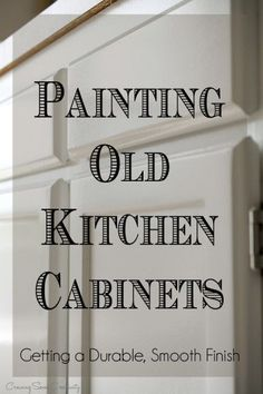 How to paint kitchen cabinets to create a durable smooth finish - kitchen cabinet painting tips including deglosser, spraying, prep, and clear coat. How to prevent yellowing and chipping of paint.