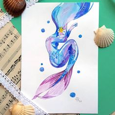 "Gaëlle Vivier 🍁 on Instagram: ""New mermaid for #mermay 💙 . . . . . . . . . #mermay2020 #mermaid #mermaidlover #characterdesign #doodle #watercolor #watercolorart…"" Mermaid Artwork, Watercolor Art, Character Design, Doodles, Instagram, Watercolor Painting, Donut Tower, Mermaid Illustration, Doodle"