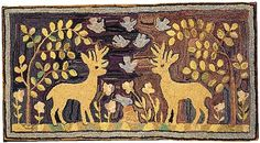 """Hooked Rug with Inordinate Charm, 19th Century, 56"""" x 30"""" yup love it"""