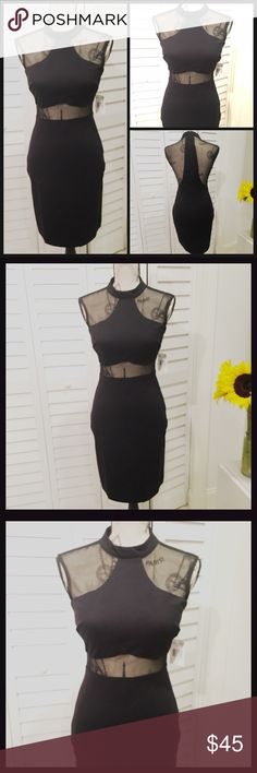 NWT Sexy Mesh Turtle Neck Black Bodycon Dress NWT Sexy Black Mesh Halter Top Turtle Neck Bodycon DressThis fits amazing Dresses Mini