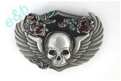 Brand:e&b Western Skull with Wings and Roses Belt Buckle for Biker Sk-037  http://bikeraa.com/brandeb-western-skull-with-wings-and-roses-belt-buckle-for-biker-sk-037/