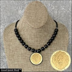 Great Spirit Lion Gold Finish Coin Medallion on Leather Cord Necklace with Premium Quality Gemstone Beads #StainlessConnectors #CoinMedallion #LobsterClasp #PremiumLeather #4mmLeatherCord #GemstoneBeads #StainlessSteel #LionMedallion #LionCoin #AGradeBeads