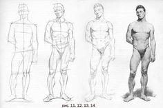 Рисование карандашом людей. Научиться рисовать тело человека. Уроки пошаговое рисование фигура поэтапно. Школа рисования и живописи New Art Intention.