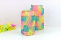 Save tissue paper and empty glass jars to make this fun and easy craft from recycled materials. Use the jars …