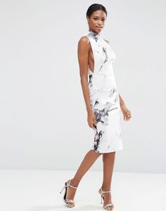 ASOS+Marble+Print+One+Shoulder+Clean+Scuba+Midi+Dress