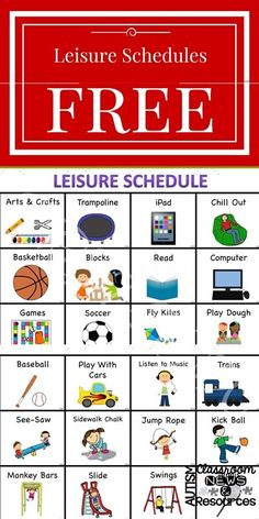 Free leisure schedule visuals. Great for students with autism and to help structure leisure skills of all nonreaders and promote independence.