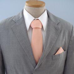 Men's Tie - Solid Peach - Light Peachy Pink Solid Necktie. $59.50, via Etsy.