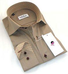 New Mens Formal Smart Brown Slim Fit Diamond Collar Shirt S M L XXL 3XL 4XL