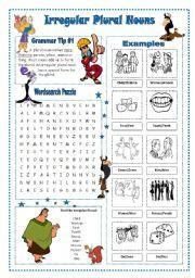 singular and plural words list in english pdf