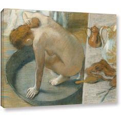 Edgar Degas The Tub Gallery-wrapped Canvas Art, Size: 14 x 18, Silver