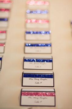 My DIY escort cards :  wedding blue cards diy escort cards navy pink reception Reception3