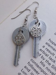 Vintage Silver Key Earrings  KeyBoogie Skeleton keys by KeyBoogie, $16.00