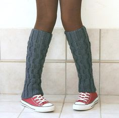 Wool Leg Warmers Knit in Charcoal Grey Boot Socks by ForYouDesign
