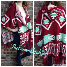 "Aztec poncho cape NEW WITH TAGS Ladies size ONE SIZE FITS MOST Beautiful medium weight 100% Acrylic   Gorgeous light weight, hooded poncho ruana with  fringe and aztec  design  fringe hem   no front closure hooded  super soft  ~ brilliant colors! Medium weight Color Brick Red  100 % acrylic -Flowy  casual Comfy Soft not scratchy Length 33"" to fringe  No trades❣ Jackets & Coats Capes"