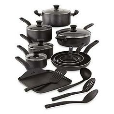T-fal 18-Piece Nonstick Inside and Out Cookware Set includes three sizes of covered saucepans, three open frying pans, saute pan with lid, stockpot with lid, square griddle pan, and 4 nonstick safe cooking utensils-all the basics your kitchen needs.