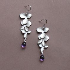 Plump Amethyst Drops  Triple Orchid by tinycottagetreasures, $26.00