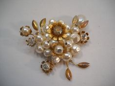 Vintage Gold Leaf And Faux Pearl And Rhinestone Brooch Pin Costume Jewelry by SeaPillowTreasures on Etsy