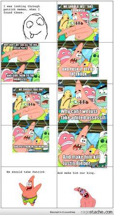 He should be lol Funny Patrick, Funny Cute, Hilarious, Spongebob Pics, Nerd Humor, Rage Comics, Laugh A Lot, Patrick Star, Spongebob Squarepants