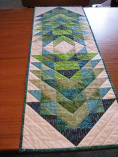 Patchwork table runner by armchairquilter