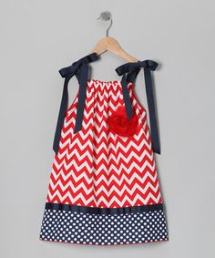 Take a look at this Red & Navy Dress - Toddler & Girls by Million Polkadots on #zulily today!