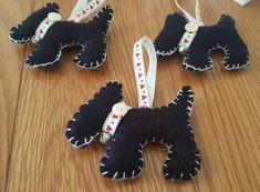 Black felt Scottie dog Christmas ornaments Dog Christmas Ornaments, Christmas Dog, Scottie Dog, Black Felt, Gingerbread Cookies, Dinosaur Stuffed Animal, Sewing, Toys, Unique Jewelry