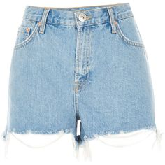 River Island Light blue ripped high waisted denim shorts ($56) ❤ liked on Polyvore featuring shorts, bottoms, ripped jean shorts, high-waisted jean shorts, distressed shorts, ripped denim shorts and high waisted jean shorts