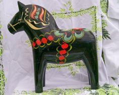 Swedish Hand Carved Olsson Black Dala  Horse .