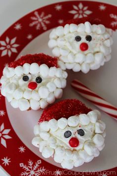 Christmas Santa Cupcakes - Easy Food Craft for the Kids. Cupcake Recipe, Perfect for a Holiday Party, School Party or Cookie Exchange Leave out for Santa on your cookie plate. on Christmas Eve..