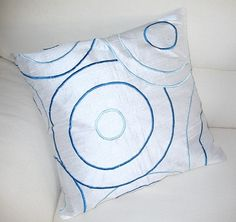 white and turquoise blue throw pillow cushion cover