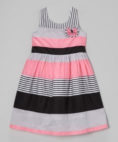 Another great find on Pink & Black Stripe Babydoll Dress - Girls by Maggie Peggy Little Dresses, Little Girl Dresses, Cute Dresses, Girls Dresses, Kids Frocks, Frocks For Girls, Baby Girl Fashion, Kids Fashion, Babydoll Dress